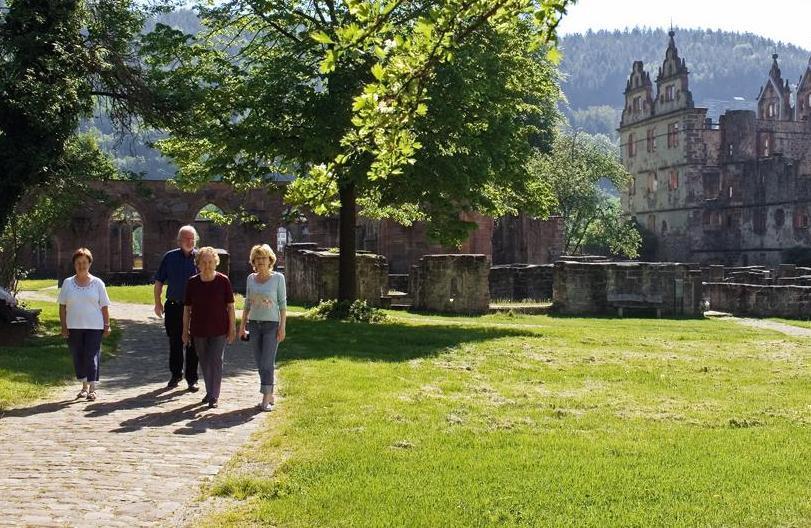 Besuchergruppe vor Klosterkulisse
