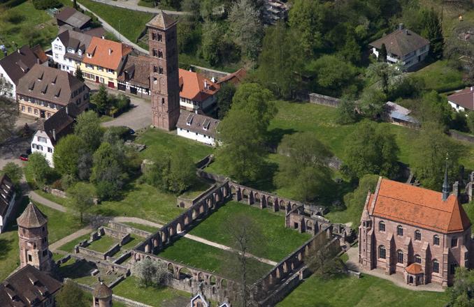 Aerial photo of Hirsau Monastery. Image: Staatliche Schlösser und Gärten Baden-Württemberg, Achim Mende
