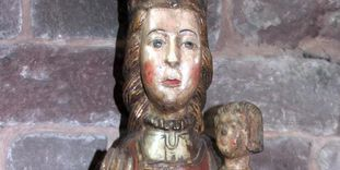Image: Busts of mother and child, detail of the Andalusian Madonna at Hirsau Monastery