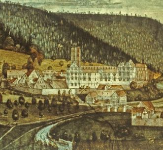 Full view of Hirsau Monastery after the fire of 1692, painting by Johann Jacob Bock. Image: Landesmedienzentrum Baden-Württemberg, Andrea Rachele