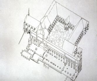 Perspektivischer Grundriss der Konventsgebäude, Marienkapelle und Eulenturm von Kloster Hirsau, 1933; Foto: Landesmedienzentrum Baden-Württemberg, Lutz Hecker
