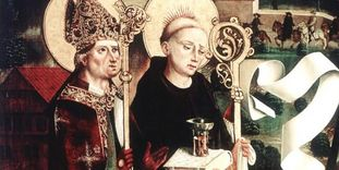 Die Heiligen Aurelius und Benediktus im Stifterbild der Aureliuskirche, um 1480, in Kloster Hirsau