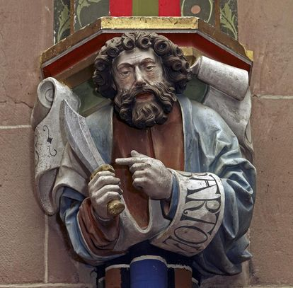 Apostle on a capital in the Chapel of St. Mary at Hirsau Monastery. Image: Staatliche Schlösser und Gärten Baden-Württemberg, Arnim Weischer