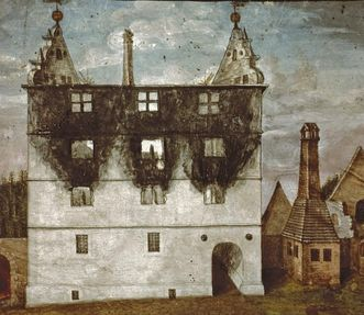 Painting of the ducal lodge at Hirsau Monastery after its destruction by fire. Image: Landesmedienzentrum Baden-Württemberg, Andrea Rachele