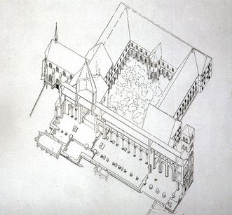 Perspective view of the layout of the convent buildings, the Chapel of St. Mary and the Owl Tower at Hirsau Monastery from 1933. Image: Landesmedienzentrum Baden-Württemberg, Lutz Hecker