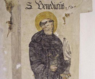 Der heilige Benedikt, Wandmalerei in Kloster Ochsenhausen; Foto: Staatliche Schlösser und Gärten Baden-Württemberg, Steffen Hauswirth